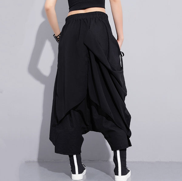 Women High Elastic Waist Black Fold Bandage Stitch Loose Long Cross-pants