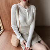Women Sexy Elegant Buttons Casual Pullovers Sweater