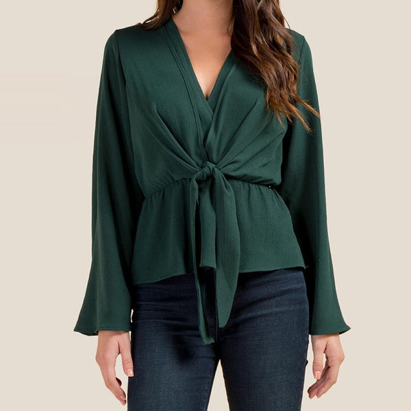 Women Solid Long Sleeve Casual Lace Up Flare Sleeve Office Blouse