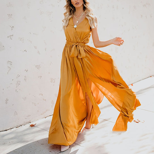 Women V Neck Sleeveless High Waist Bow Lace Up Split Maxi Dresses