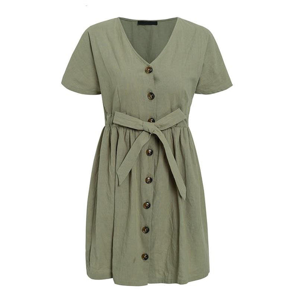 Women Vintage V Neck Short Sleeve Cotton Linen Mini Dress