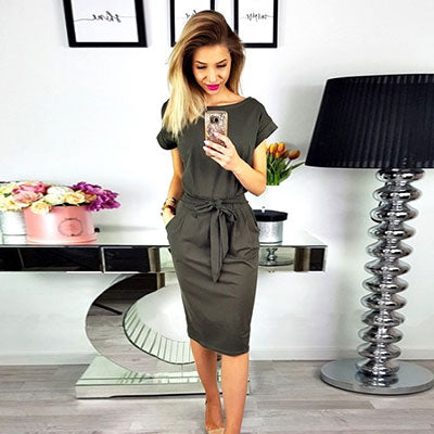 Women Casual Simple Solid O-neck Short Sleeve Midi Dress