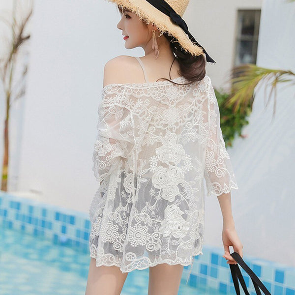 Embroidery Lace Hollow Floral Sweet Half Sleeve Cardigan (white One Size)