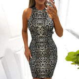 Print Long Sleeve Snake Sexy Buttock Sleeveless Bodycon Dress