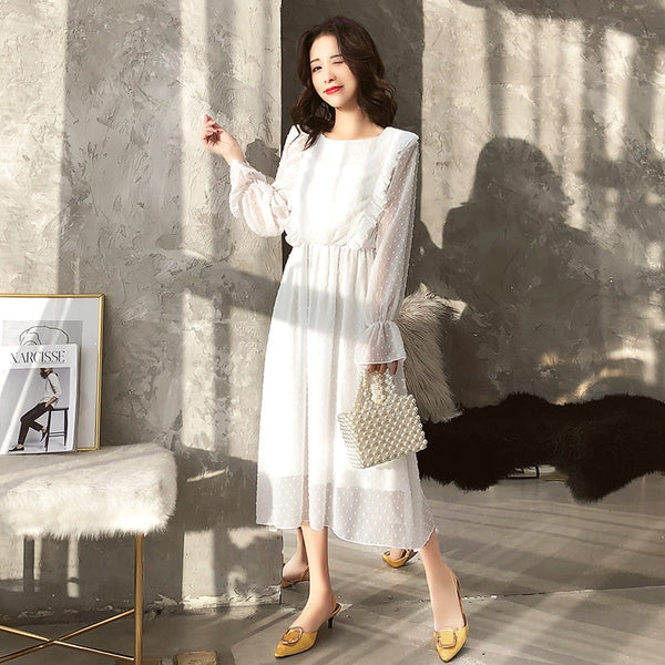 Women Chiffon Elastic Waist Flare Sleeve Maxi Dress