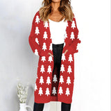 Women Leopard Print Knitted Long Cardigan