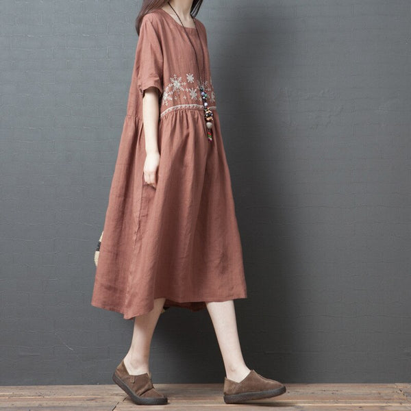 Women Cotton Linen Solid Color O-neck Short Sleeve Casual Dress