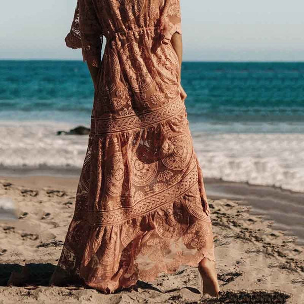 Women Lace V-neck Flare Short Sleeves Loose Beach Maxi Dress
