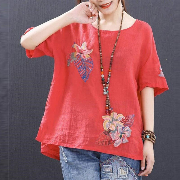 Women Floral Embroidery Vintage Casual Short Sleeve Blouse