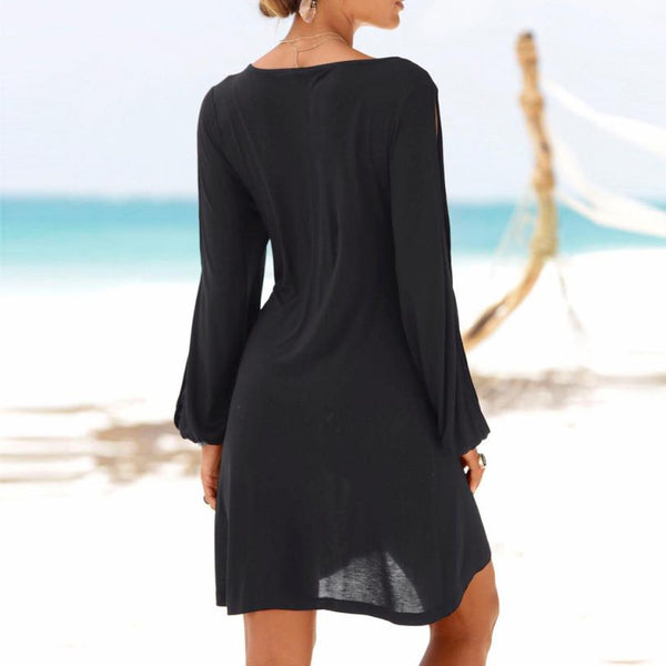 Fashion Women Casual O-Neck Hollow Out Sleeve Solid Mini dress