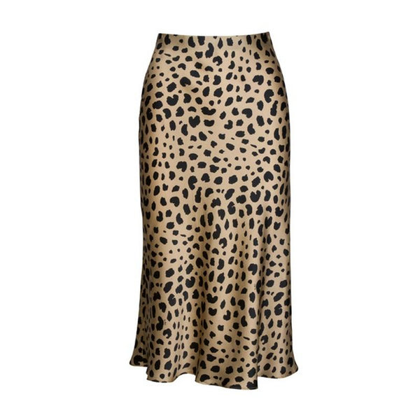 Women High Waist Leopard Hidden Elasticized Waistband Silk Satin Midi Skirts