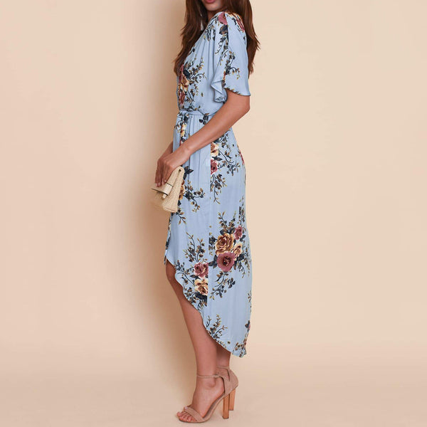 Women V-neck Short Sleeve Tie Up Floral Irregular Bohemia Dresses