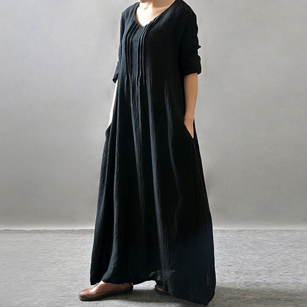Women Vintage Solid V Neck Long Sleeve Cotton Retro Maxi Dress