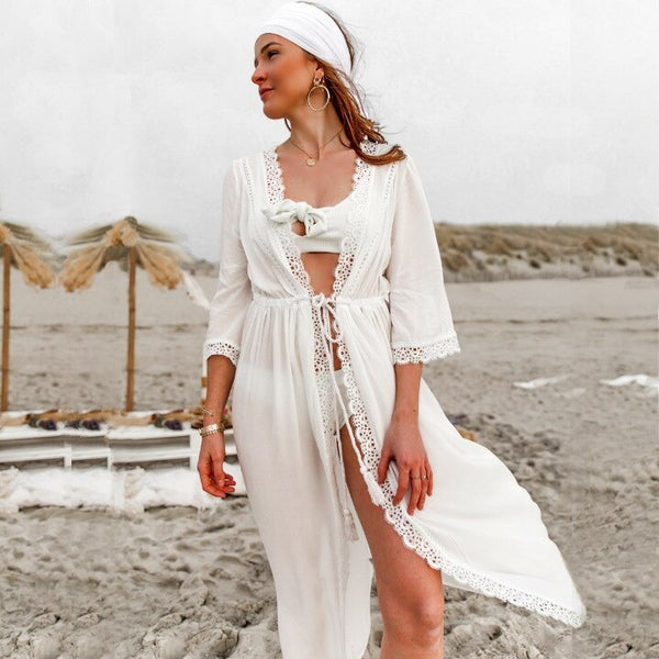 New Cotton Lace Long Sleeve Sexy Beach Maxi Dress