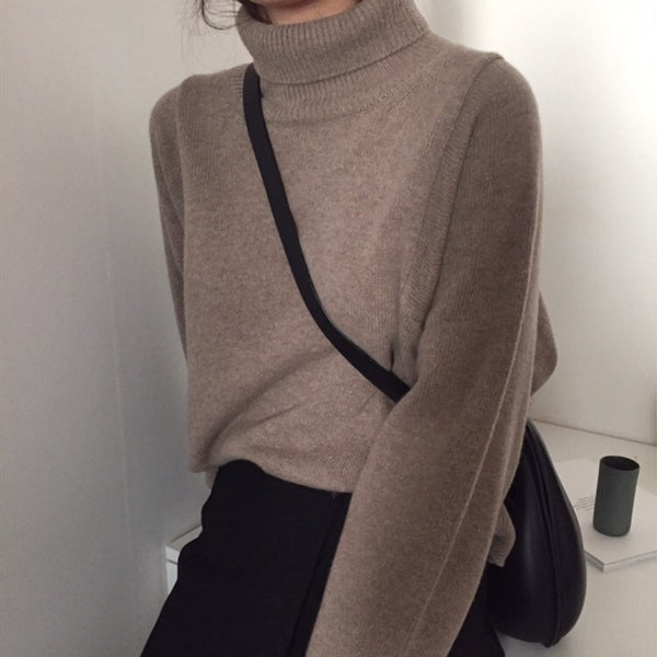 Women Pullover Turtleneck Solid Loose Sweater