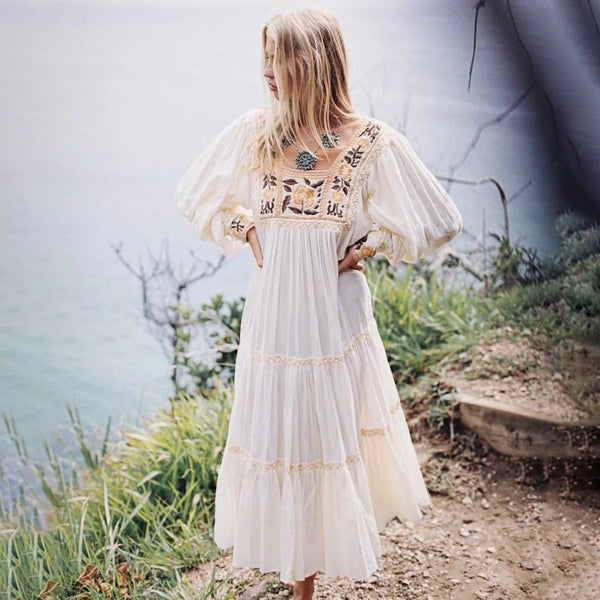 Long Sleeve Casual A-Line Chic Embroidered Maxi Dress