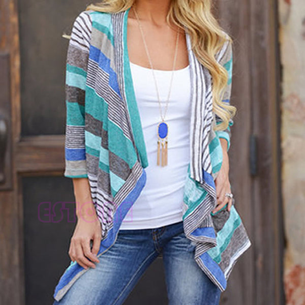 Women Loose Sweater Long Sleeve Cotton Stripe Cardigans