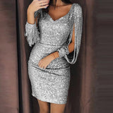 Women Sexy V Ncek Solid Sequined Glitter Stitching Shining Mini Dress