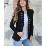 Women  Double Breasted Long Sleeve Button Notched Chic Coats