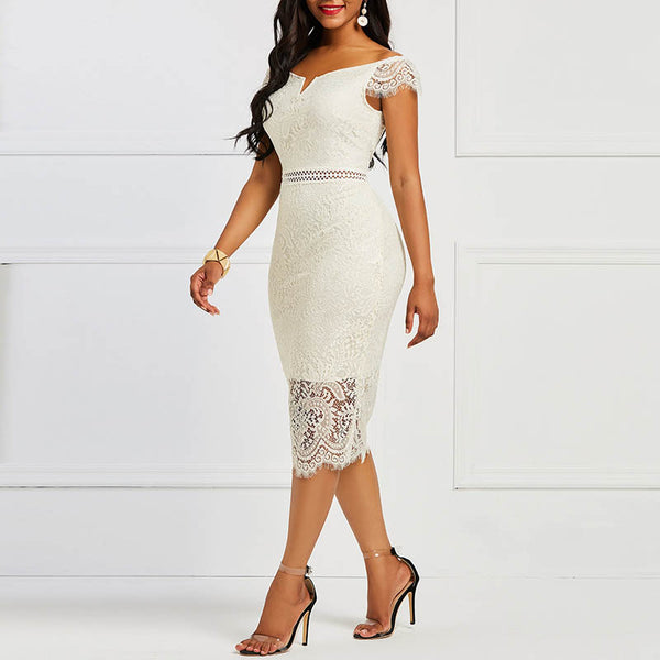 Lace Slash Neck Hollow Backless Sexy Elegant OL Party Bodycon Dress