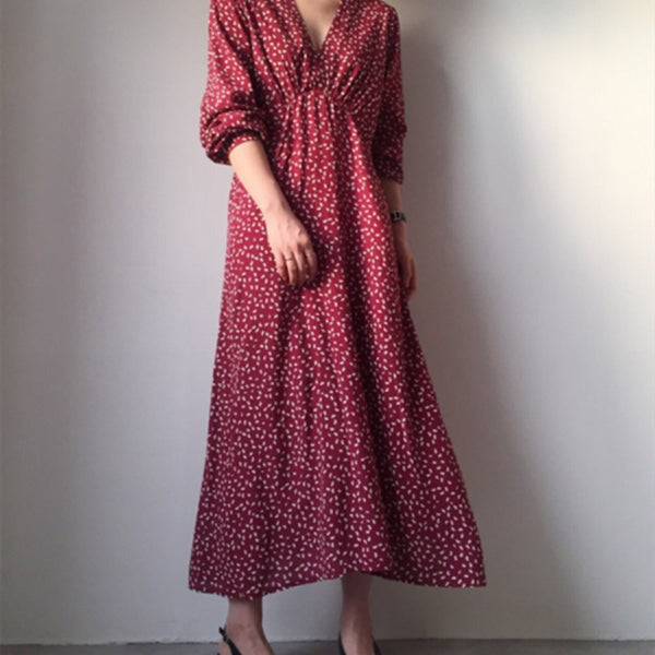Women summer Sexy Ruffle V Neck Long Sleeve Maxi Dress