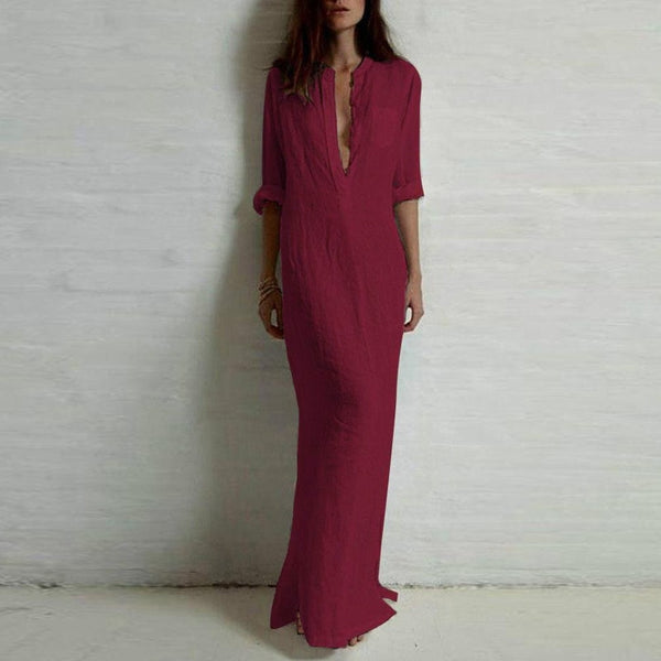 Spring Fashion Women Sexy Casual Long Sleeve Deep V Neck Split  Maxi Dress