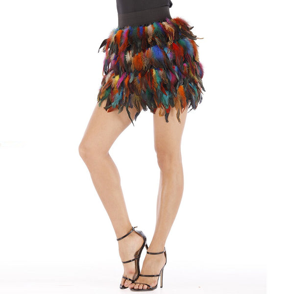 Women Double Layer Fabric Lined Feather Skirt