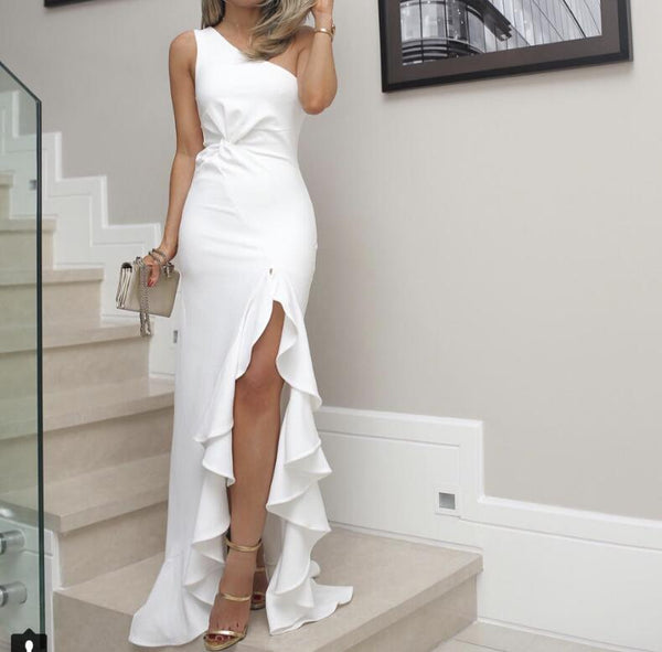 Women Irregular One Shoulder Elegant  Wedding Dresses