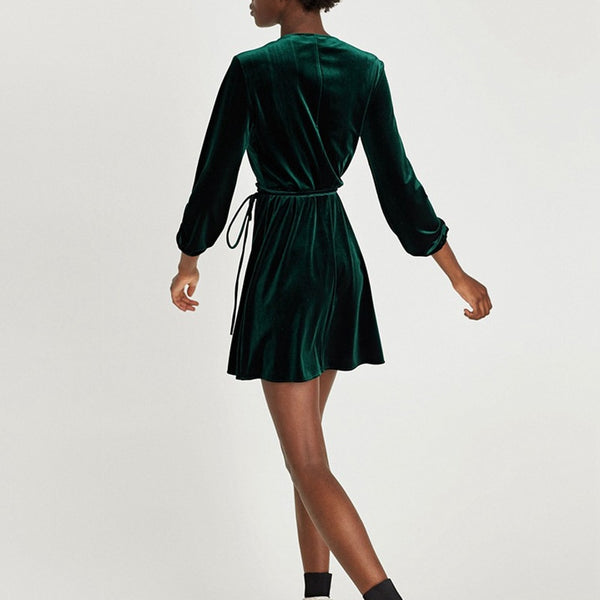Elegant V-Neck WrapWomen Long Sleeve Velvet Mini Dress