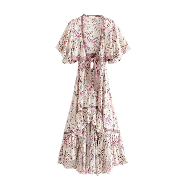 Chic Summer Vintage Floral Print Asymmetrical Boho Dress