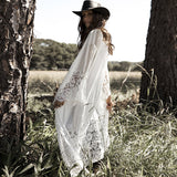 Plus Size Cotton Long Sleeve Hollow Out Beach Maxi Dress