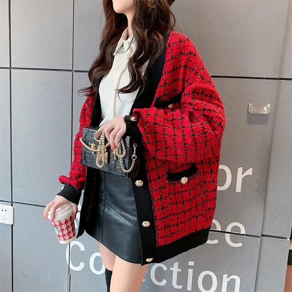 Women Oversized Knitted Loose Plaid Cardigans Sweater
