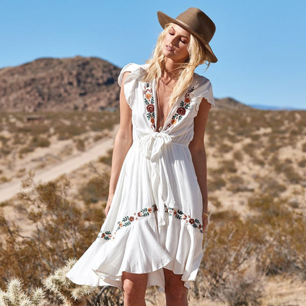 Sexy Deep V-Neck Floral Embroidery Holiday Bohemia Dresses