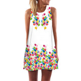 Summer Women Rose Print Sleeveless O neck Casual Dresses