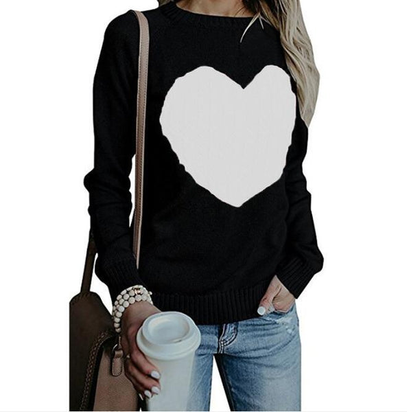 Women Pullovers Long Sleeve Slim Heart Knitted Sweaters