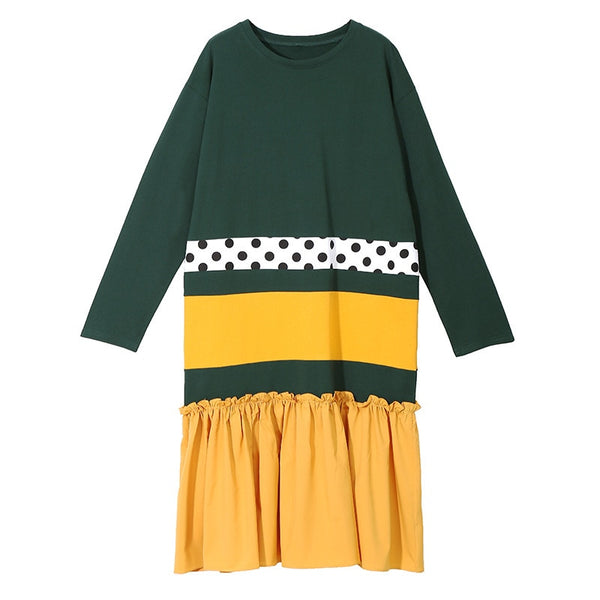 Summer Round Neck Long Sleeve Green Hit Color Dot Printed Hem Pleated Mini Dress