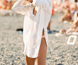 Sexy V Neck Cotton Beach Long Shirt