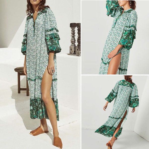 Women Summer Floral Print Long Sleeve Split Long Maxi Dresses