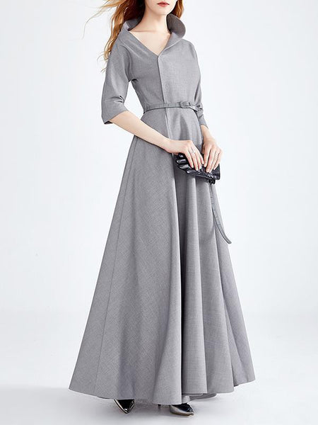 Women A-Line Long Sleeve Elegant Vintage Maxi Dress