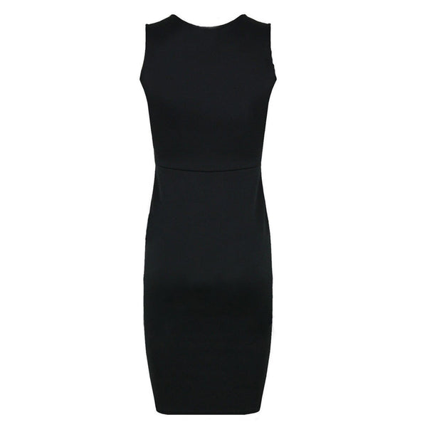 Women Faux Leather Splice OL Black O Neck Sleeveless Bodycon Dress
