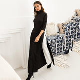 Women Fashion Plus Size  Asymmetrical  Turtleneck Pullover Stretchy Black Knitting Maxi Dress
