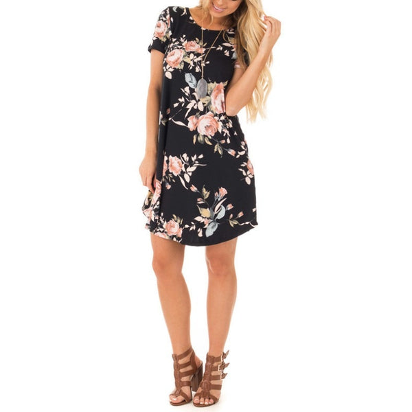 Summer O-Neck Women Floral Print Short Sleeve Mini Dress