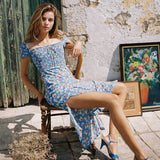 Blue Floral Print Puff Sleeve Square Collar Bohemia Dresses