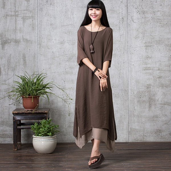 Women Linen Solid National Style Loose Plus Size Maxi Dress