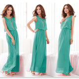Women Fashion Summer  Sleeveless Solid Color Maxi dress