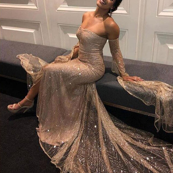 Sexy Long Sleeve Off Shoulder Split Cocktail Party Evening Dresses
