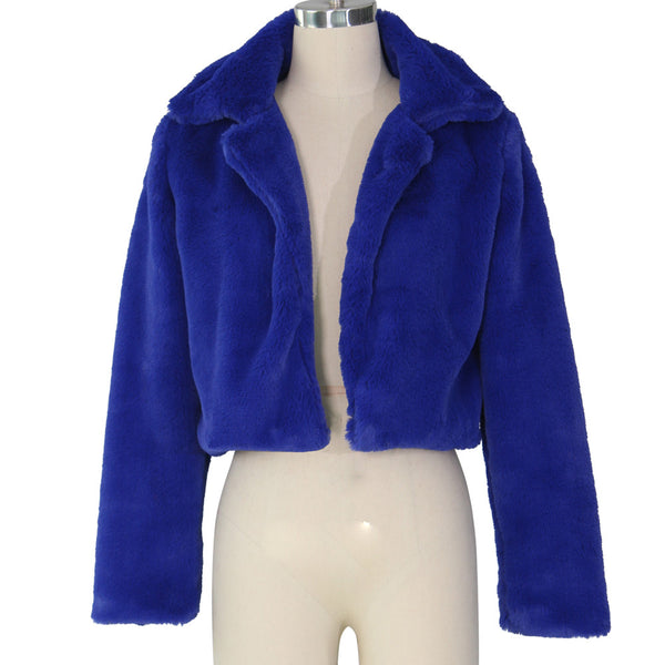 Women Fluffy Fleece Turn-down Collar Faux Fur Coat Tops