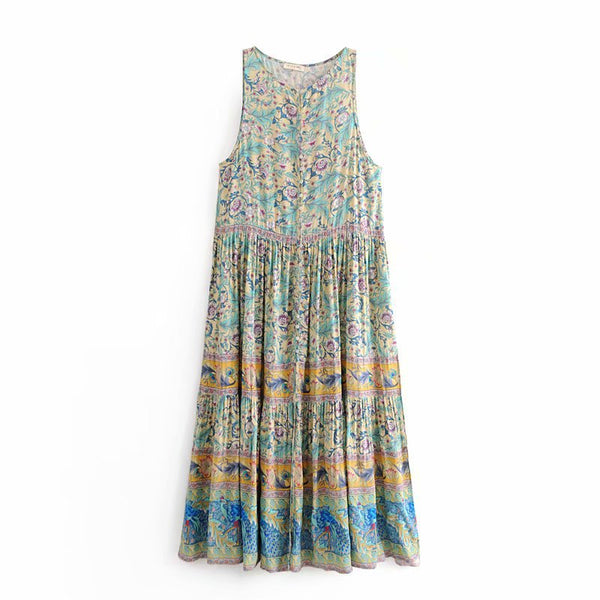 Women Gypsy Print  V-Neck Sleeveless Vest Button-up Front Rock-chic Maxi Dress