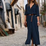 New Fashion Women  Long Sleeve Button Shirt Maxi Dress