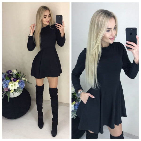 Women O-neck Fit and Flare Pockets Long Sleeve Mini dress